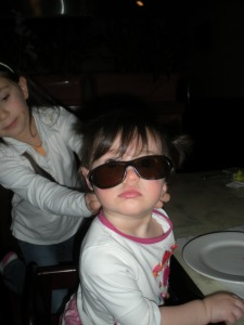 Isabella with my sunglasses