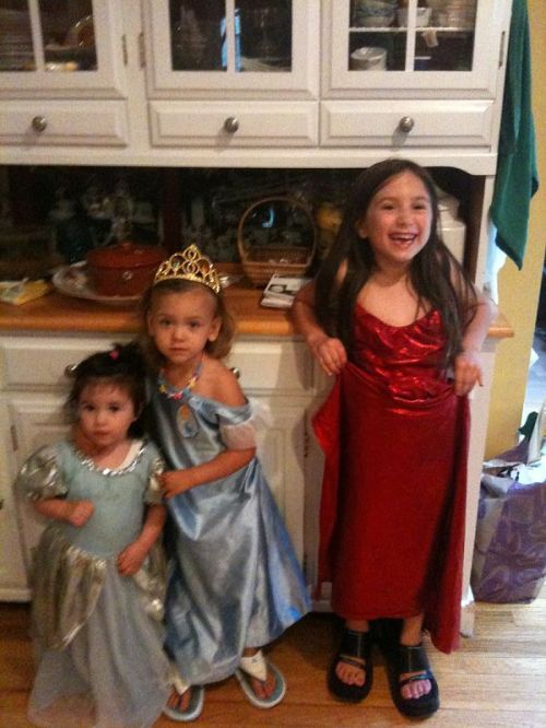Girls playing princess