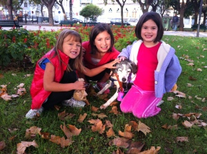 My girls and our little old doggie.