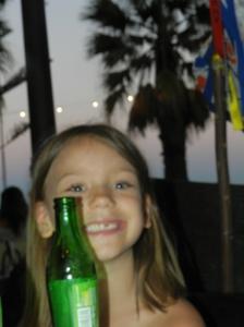Beautiful Olivia with the setting sun! :)