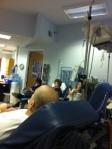 Doug getting his chemo in Boston.