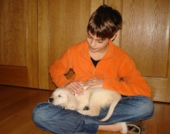 Apple when he was a puppy with Lucas