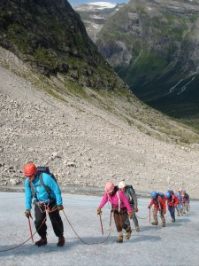The whole family glacier climbing in Norway