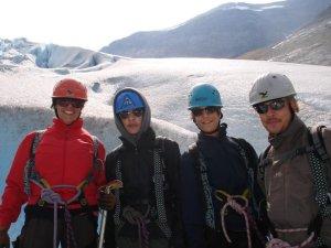 Climbing glacier with her family in Kjenndalsbreen, Norway