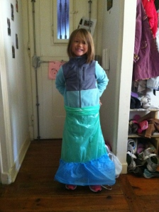 Olivia's skirt she made from plastic trash bags! GO OLIVIA!